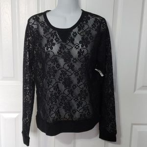 Girls transparent see through lace top size S/M